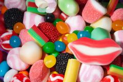 Candy assortment background